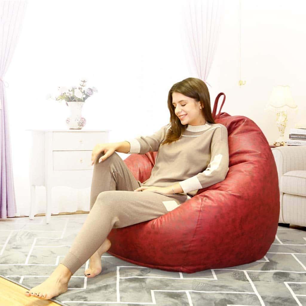 Ghế lười hình quả lê màu đỏ