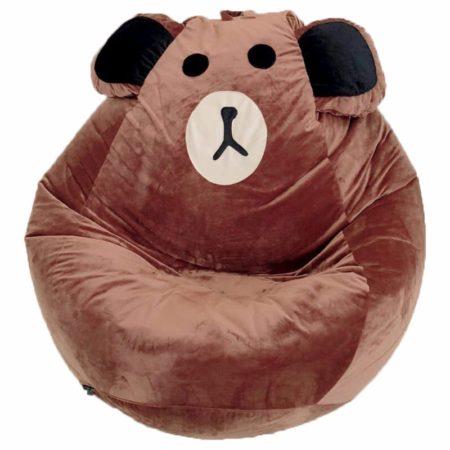 Ghế lười gấu bông hạt xốp Brown
